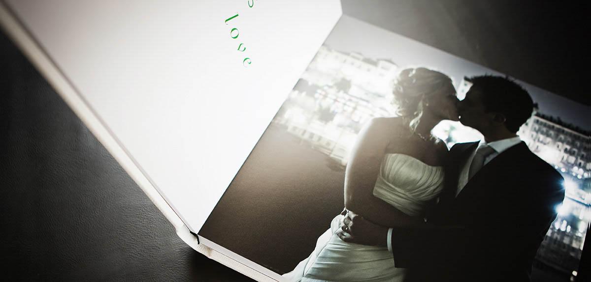 Album di matrimonio a Torino a pagina piatta, dettaglio